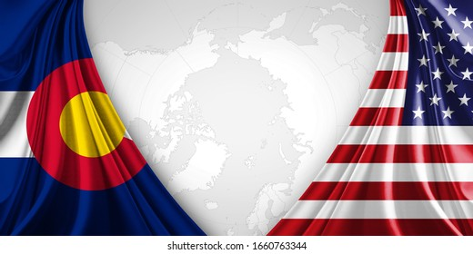 Colorado and American flag of silk with copyspace for your text or images and world map background-3D illustration .jpg