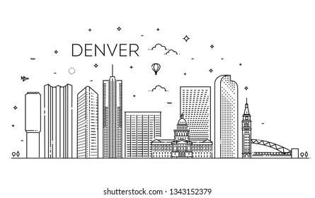 Colorado, Denver. Flat design line illustration concept