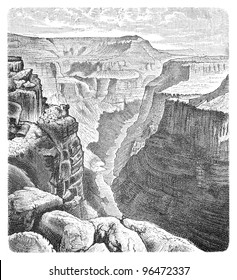 Colorado River in the Grand Canyon by Toroweap / vintage illustration from Meyers Konversations-Lexikon 1897