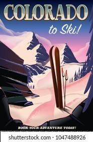 Colorado to ski! vintage style ski sporting travel poster.