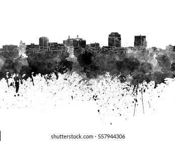 Colorado Springs skyline in black watercolor