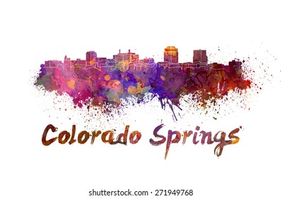 Colorado Springs skyline in watercolor splatters with clipping path