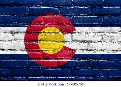 Colorado State Flag painted on brick wall