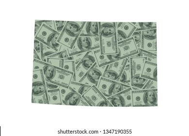 Colorado State Map and Money Concept, Hundred Dollar Bills