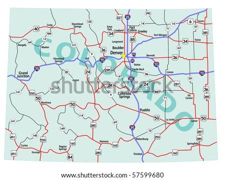 Colorado State Road Map Interstates Us Stock Illustration Royalty - Us-map-interstates