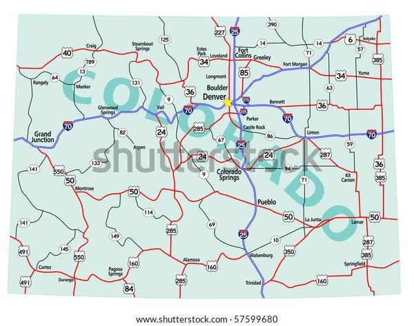 Colorado State Road Map Interstates Us Stock Image ...