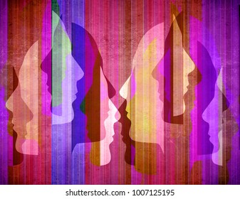 colored abstact background with human Silhouette Profiles
