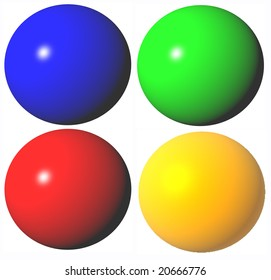 colored abstract green ble red yellow spheres high quality rendered from 3d