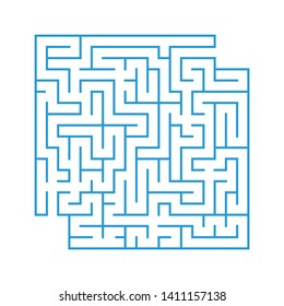 A colored abstract square maze with an entrance and an exit. Simple flat  illustration  on white background. With a place for your drawings.