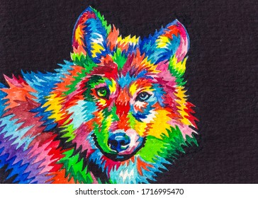 Colored abstract wolf. Wild predatory animals. Watercolor painting.