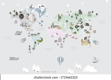 Colored animals world map for child room wallpaper