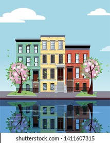 Colored apartment buildings on lake. Facades of buildings are reflected in mirror surface of water. Flat cartoon illustration of autumn city. Three-four-story colorful houses. Street cityscape.
