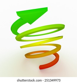 Colored ascent arrow, spiral