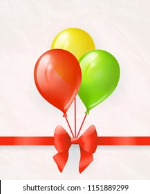 Colored balloons with red bow and ribbon. Greeting card. Raster version