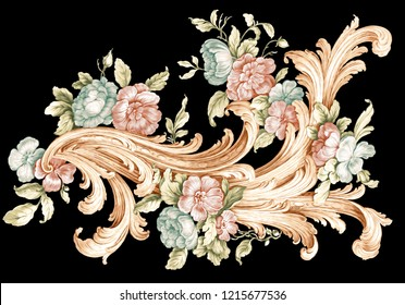 colored baroque floral ornamental on black backgraund
