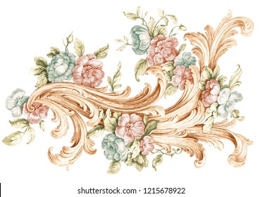 colored baroque floral ornamental on white backgraund