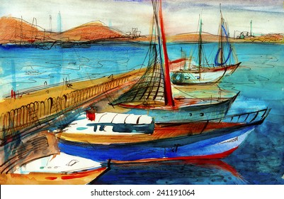 COlored boats near the sea watercolor paper painting illustration oil canvas book poster pastel acrylic