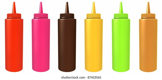 Colored bottles with different sauces