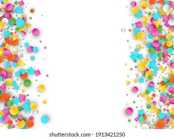 Colored Carnaval Confetti Explosion Background with Stars, Squares, Triangles, Circles. Abstract Geometric Shapes 3d Raster Pattern for Birthday and Party Design