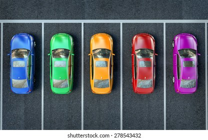 colored cars are in the parking lot or getting ready for race