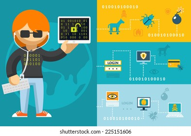 Colored Cartoon Computer Hacker with Accessories Icons