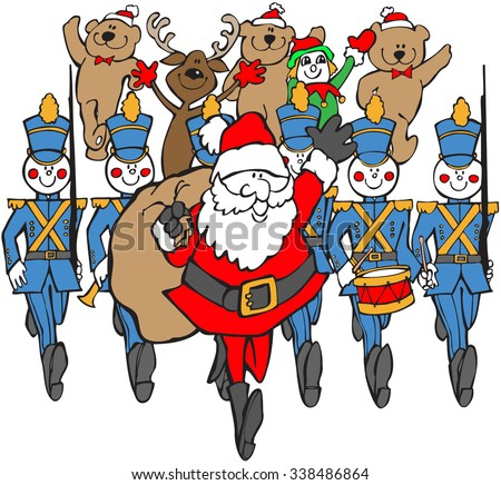 colored cartoon of santa and marchers in christmas parade