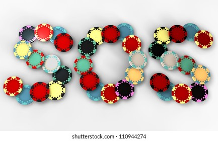 Colored casino chips in the shape of the term sos
