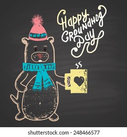 Colored chalk painted illustration with groundhog, cup and text. Happy Groundhog Day Theme.