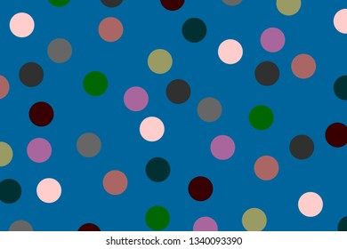 Colored circles on a blue background. Illustration