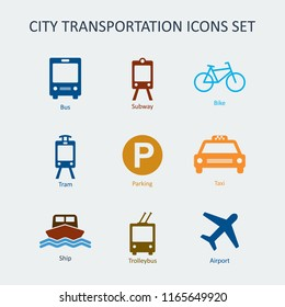 Colored City and public transportation icons set. Silhouette signs