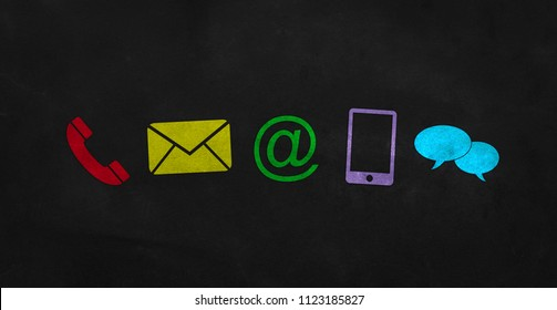 colored contact icons on a blackboard