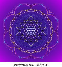colored design mandala sacred geometry illustration Sri yantra lotus isolated dark background