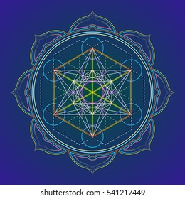 colored design mandala sacred geometry illustration Metatron's cube yantra lotus isolated dark background