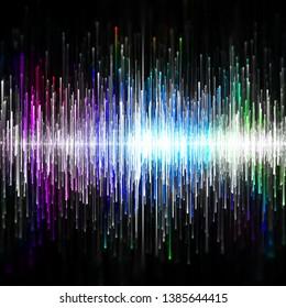 Colored design sound waves, digital illustration