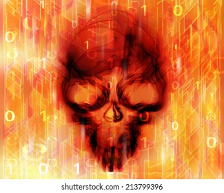 colored digital abstract background with skull
