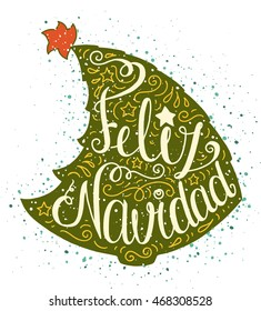 Colored doodle typography poster with green christmas tree. Cartoon cute card on celebration theme with lettering text - Feliz Navidad. Hand drawn illustration isolated on white background.