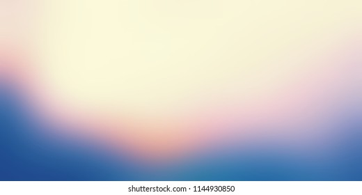 Colored dusk sky ombre pattern banner. Nature blurred background. Twilight cloud abstract texture. Yellow, blue, pink gradient defocused ilustration.