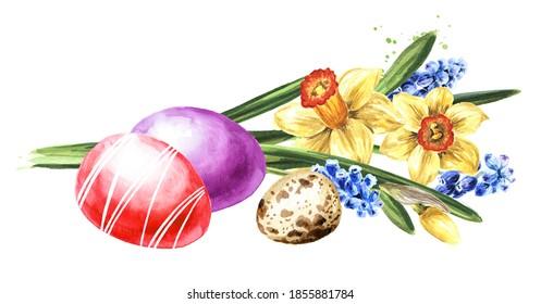Oeufs de Pâques colorés et Bouquet de fleurs printanières. Illustration à l'aquarelle dessinée à la main isolée sur fond blanc