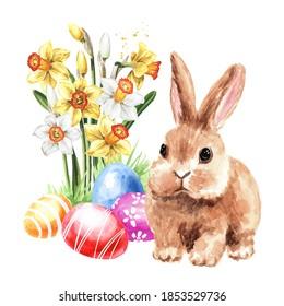 OEufs de Pâques colorés dans l'herbe verte, fleurs printanières et petit lapin. Illustration à l'aquarelle dessinée à la main isolée sur fond blanc