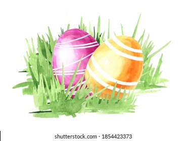 Oeufs de Pâques colorés dans l'herbe verte. Illustration à l'aquarelle dessinée à la main isolée sur fond blanc