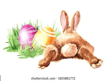 OEufs de Pâques colorés dans l'herbe verte et le lapin. Illustration à l'aquarelle dessinée à la main isolée sur fond blanc
