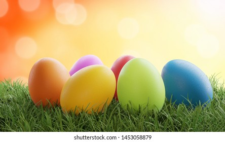 colored Easter eggs on grass 3d-illustration with bokeh orange background