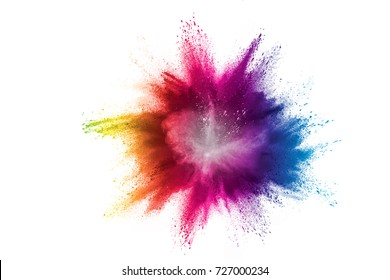 A colored explosion of powder on white background.