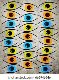 colored eyes digital illustration background