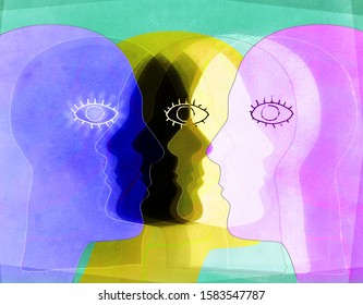 colored faces silhouette digital illustration