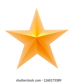 colored five-pointed star isolated on white background. 3D rendering.