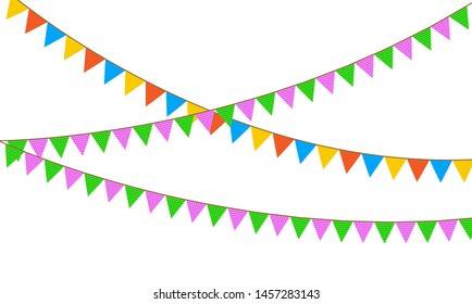 Colored flags on rope decorations icons