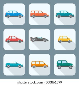 colored flat design body types cars classification icons set sedan saloon hatchback station wagon coupe cabriolet microcar compact supercar sportcar off-road crossover minivan camper minibus
