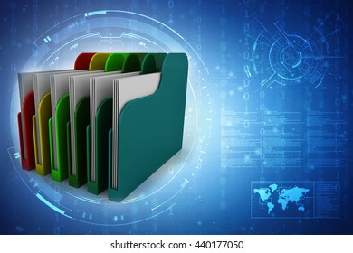 Colored folders. 3D rendering