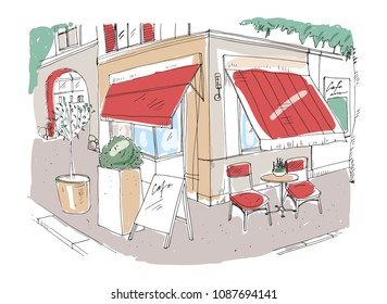 Colored freehand sketch of small sidewalk cafe or restaurant with table decorated with potted plant and chairs standing on city street under awning beside building. Hand drawn illustration